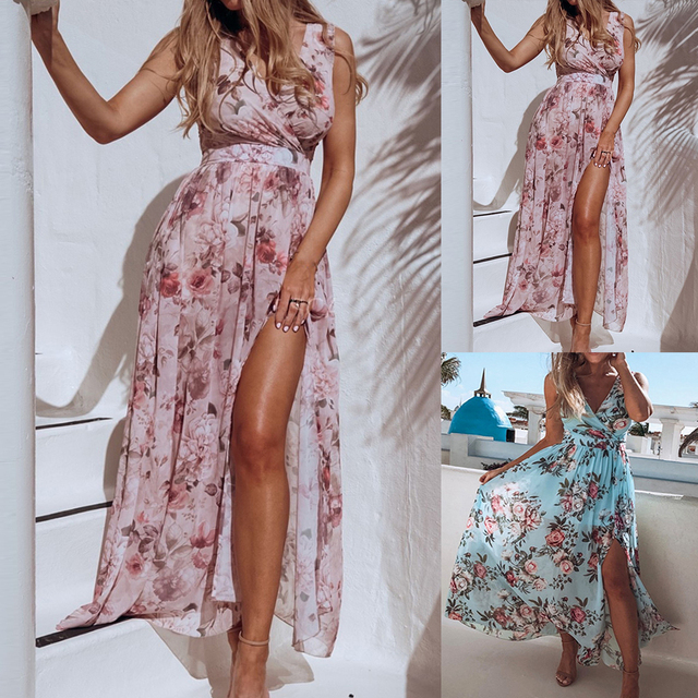 Women V Neck Split Dress Floral Print Long Summer Spaghetti Strap Party Pink Chiffon Elegant Casual Maxi Dresses Beach 6