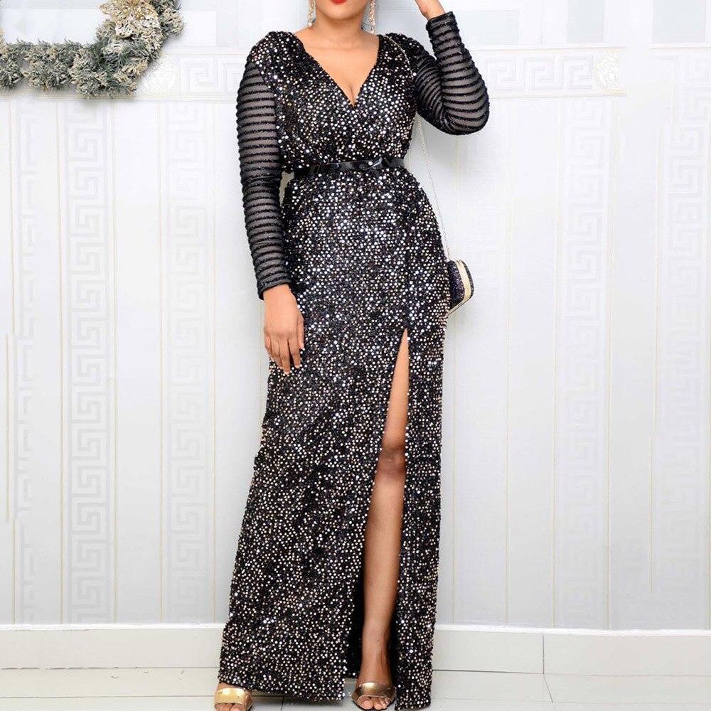 Black Sparkly Party Evening Dress Long Sleeve Sexy V Neck High Split Club Elegant Dress Ladies Bodycon Sequin Long Vestiods