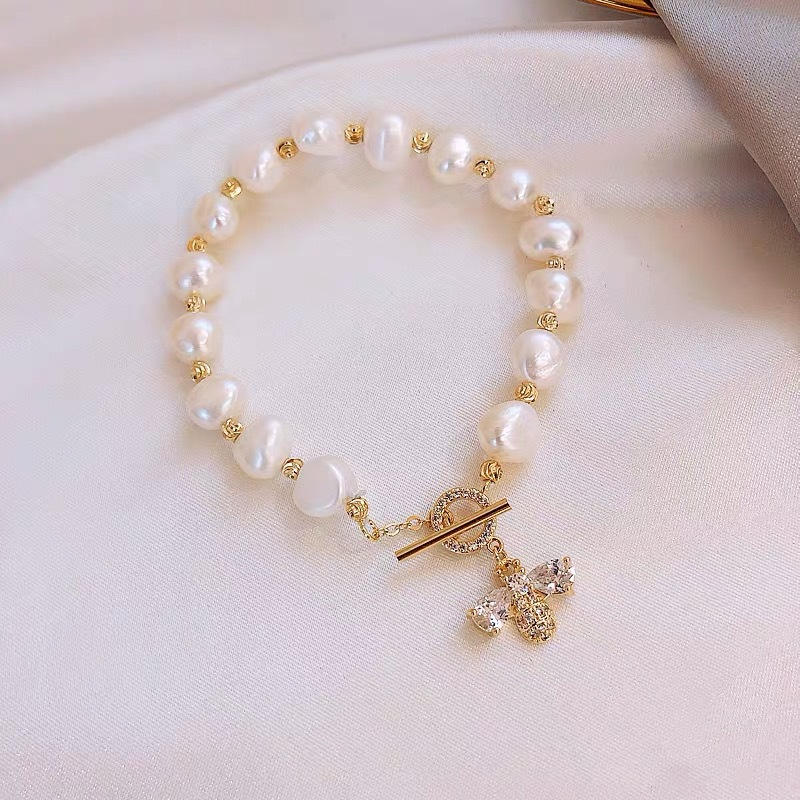 Genuine Natural Freshwater Pearl Bracelets Bangles For Women with White Clay Zircon Ball Elasticity Jewelry Gift
