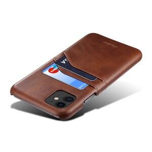 Image 3 - יוקרה בציר עור מפוצל כפולה כרטיס חריץ טלפון נייד מקרה עבור iPhone 7 8 בתוספת X XR XS מקסימום 11 11Pro מקס נייד טלפון חזרה כיסוי