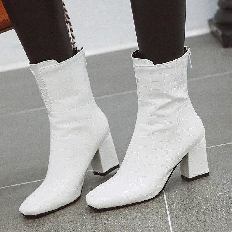 2021 stivaletti da donna autunno scarpe blocco in pelle di serpente tacco alto stivali corti bianchi rossi stivali invernali moda femminile di grandi dimensioni
