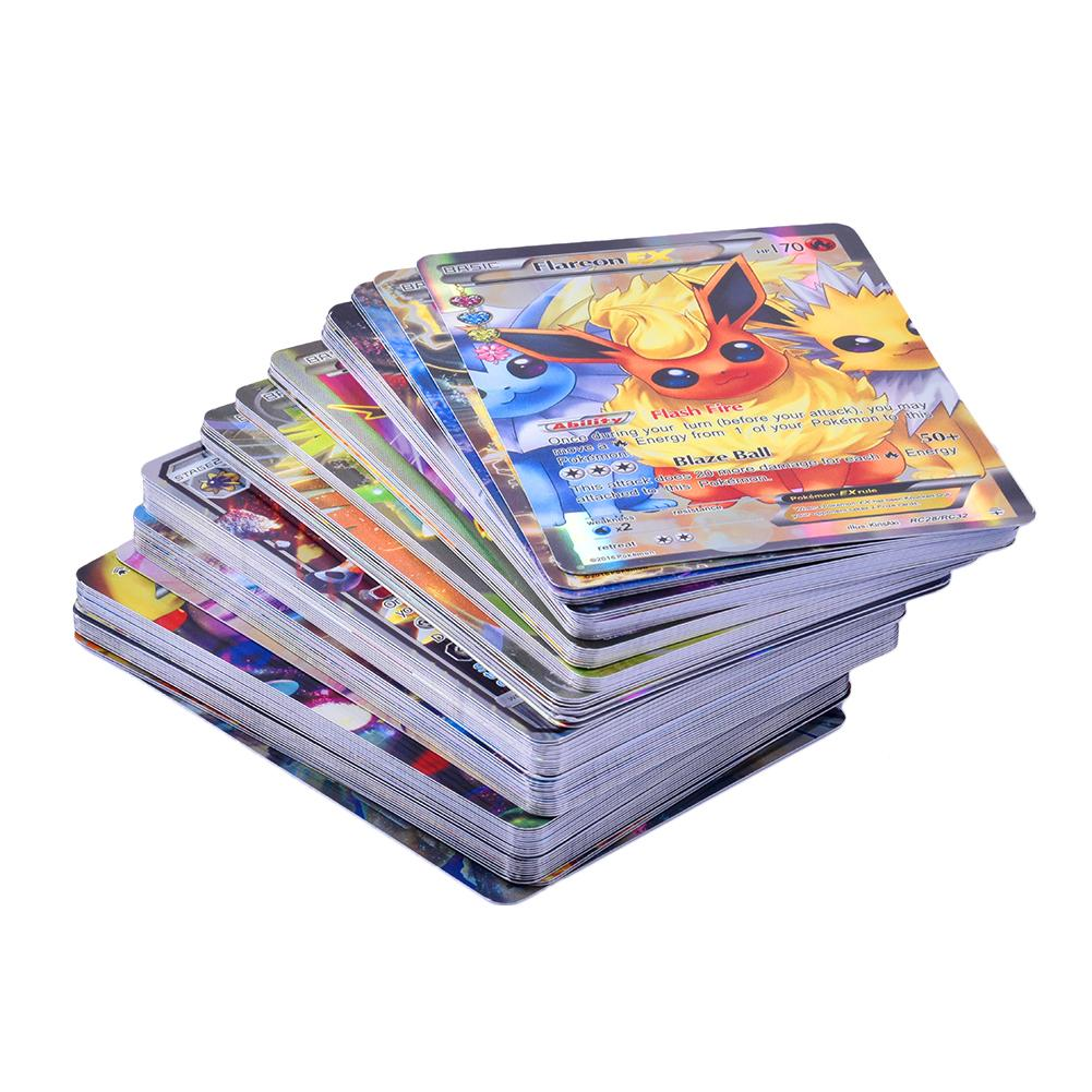 100Pcs Poke Cards TCG Style Card Holo EX Full Art 59 EX Cards 20 Mega EX Cards 20 GX Cards 1 Energy Card Juegos De Mesa image