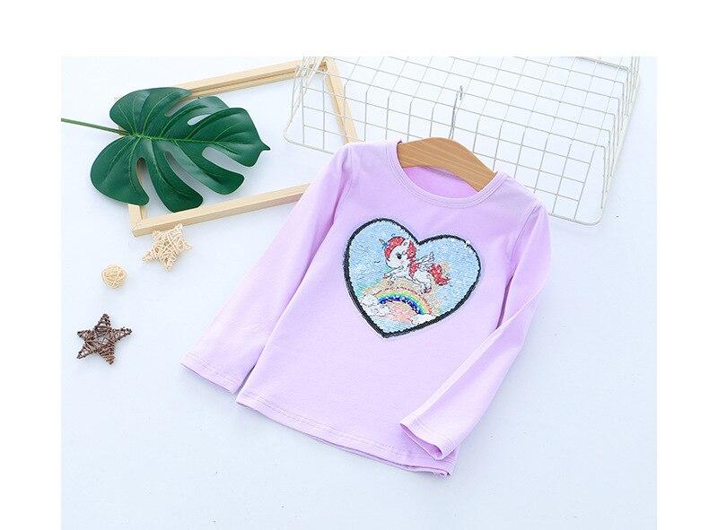 Футболка с длинными рукавами для девочек; рубашки для девочек с рисунком единорога; детский топ с блестками; модная одежда для девочек