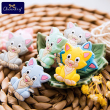 50PC Mini Baby Silicone Teether Food Grade Cute Cat Rodent DIY Pacifier Chain Pendant Necklace Tiny Rod For Kid Product Toy