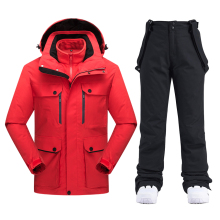 Thick Warm Ski Suit Women Waterproof Windproof Skiing and Snowboarding Jacket Pants Sets Male Snow Costumes Outdoor Wear Brand