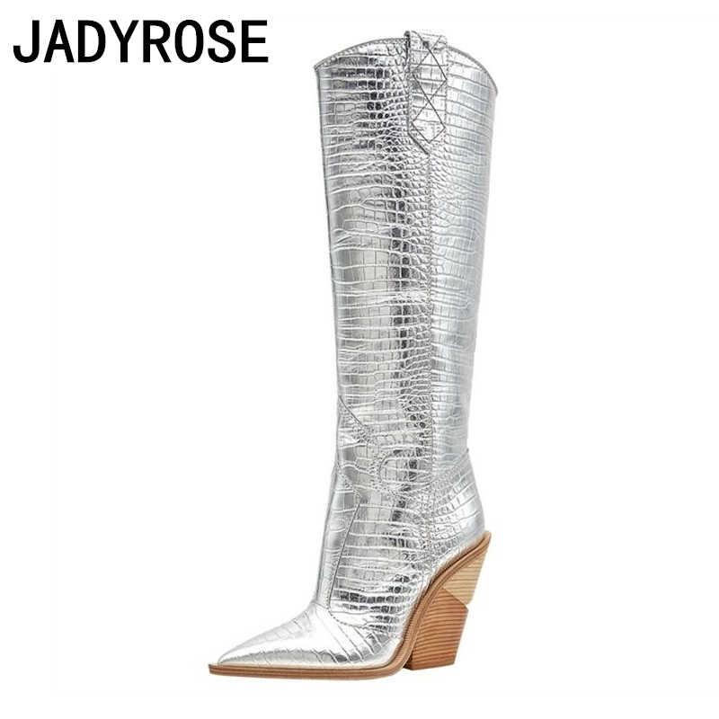 Gümüş deri kadın kış uzun çizmeler sivri burun diz yüksek beyaz şövalye patik kama topuklu motosiklet Botas Mujer Stilettos