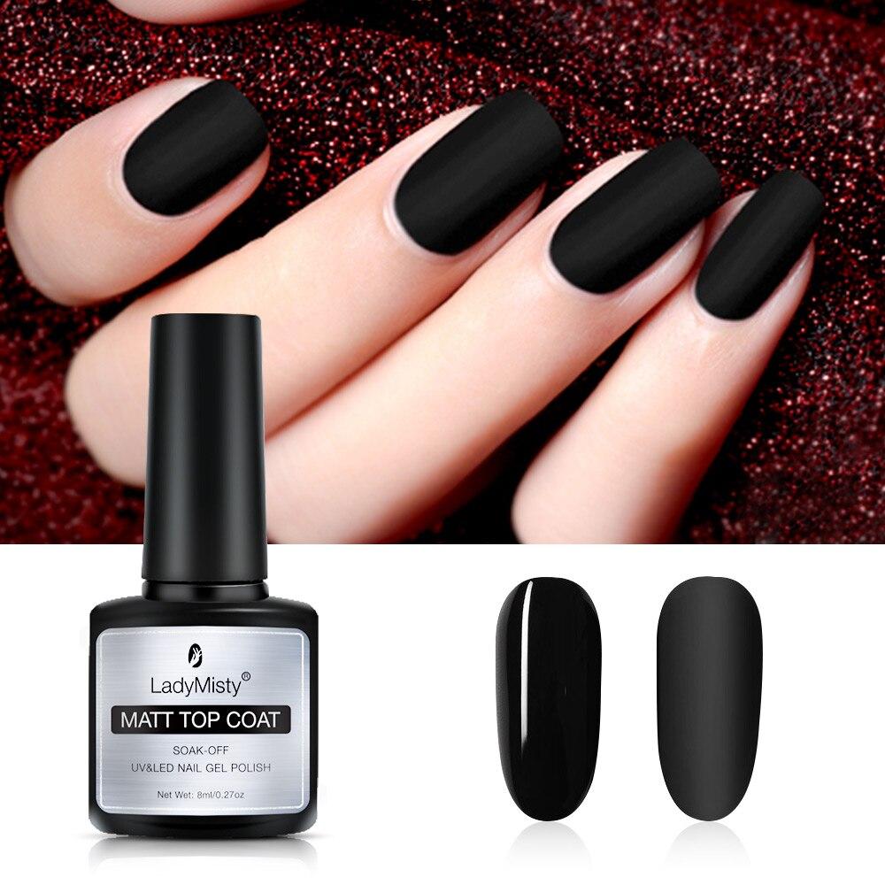 LadyMisty 8 мл не протирать основа верхнее пальто УФ-гель для ногтей матовый лаки для ногтей Гель-лак для ногтей, Лаки лак для нейл-арта Маникюр би...