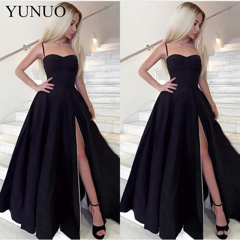 YuNuo Sexy Spaghetti Strap Satin Black   Prom     Dress   Sweetheart A Line Evening Party Gown with Side Split N60