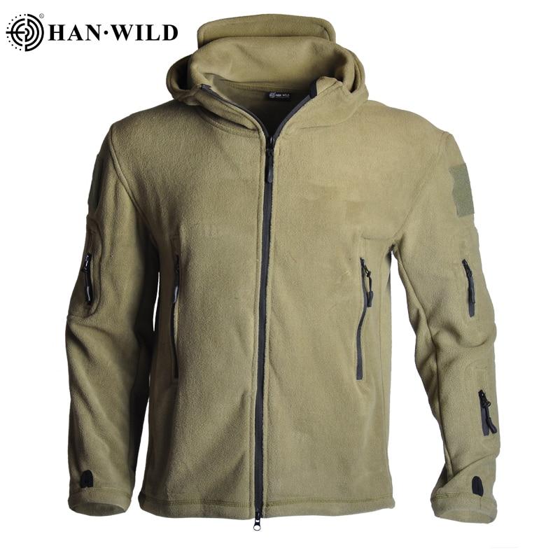 HAN WILD Tactical Fleece Jacket Uniform Men Jacket Coat Military Soft Shell Casual Jacket Men Thermal Army Clothing Multi-pocket