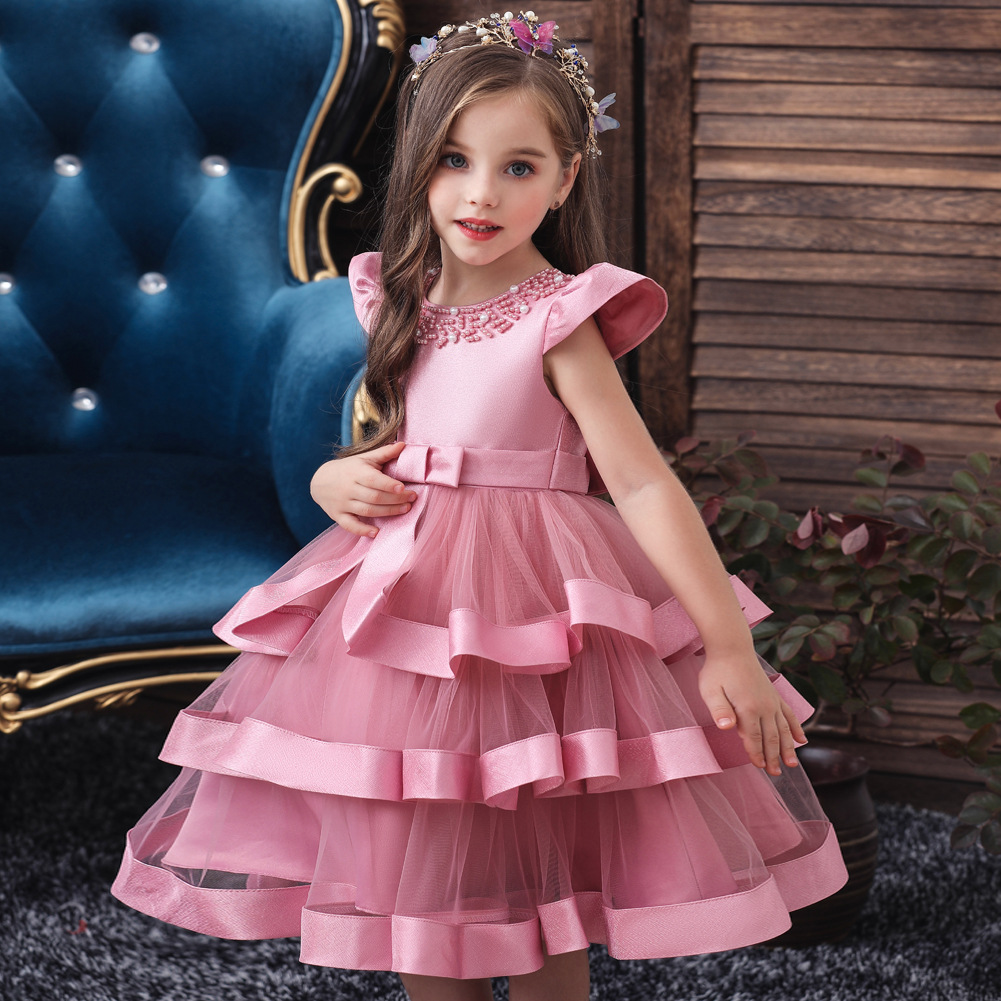 Infant Girls Dress Wedding Dresses For Girls Formal Occasions Performance Gown Birthday Party New Year Christmas Silk Dress