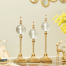 Modern Light Luxury Home Decor Crystal Figurines Minimalist Living Room Wine Cabinet American Ball Ornaments