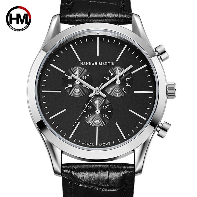 Hannah Martin Watches Men Top Brand Luxury Business Quartz Watch Men Gifts Sport Waterproof Wristwatches Relogio Masculino