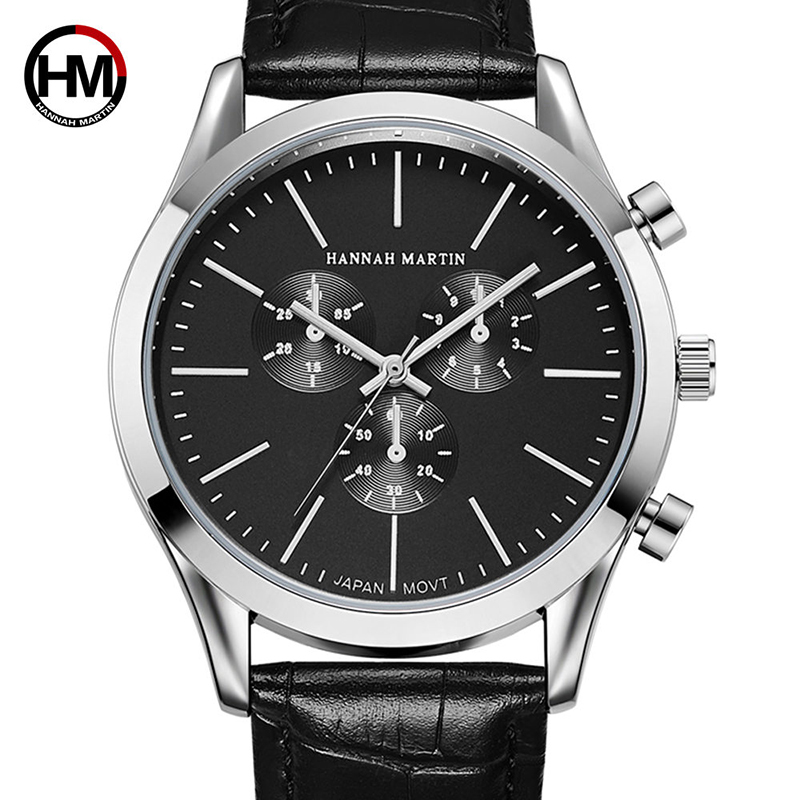 Hannah Martin Watches Men Top Brand Luxury Business Quartz Watch Men Gifts Sport Waterproof Wristwatches Relogio Masculino