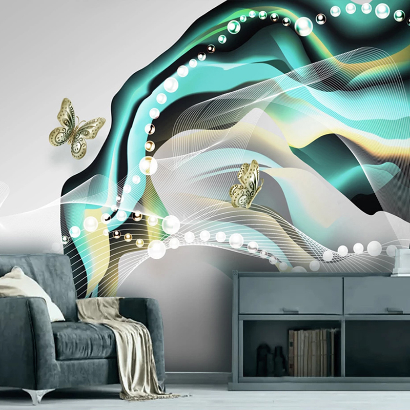Custom Any Size Mural Wallpaper Modern Simple Abstract Silk Pearl Butterfly Nordic Wallpapers Living Room TV Sofa Art Home Decor