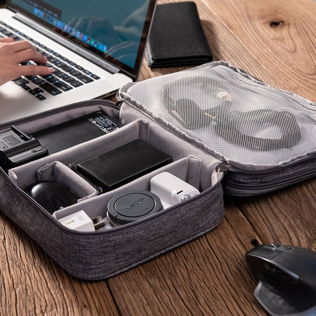 3-layer Electronics Storage Bag Polyester Multi-functional Organizer Data Cable Storage Case Bag 28×21×9 cm 1