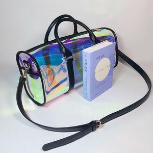 Image 2 - Moda torba podróżna kobiety duża pojemność przenośna torba na ramię pcv holograficzny Weekend bagaż Tote