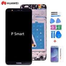 Conjunto de digitalizador de tela de toque, com visor LCD e moldura, original para huawei p smart, huawei enjoy lcd 7s, fig, la1, lx1, l21 e l22