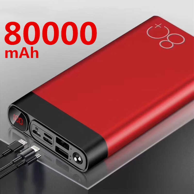 80000Mah Power Bank Dual Usb Grote Capaciteit Snel Opladen Draagbare Quick Charge Powerbank Voor Iphone Xiaomi Samsung