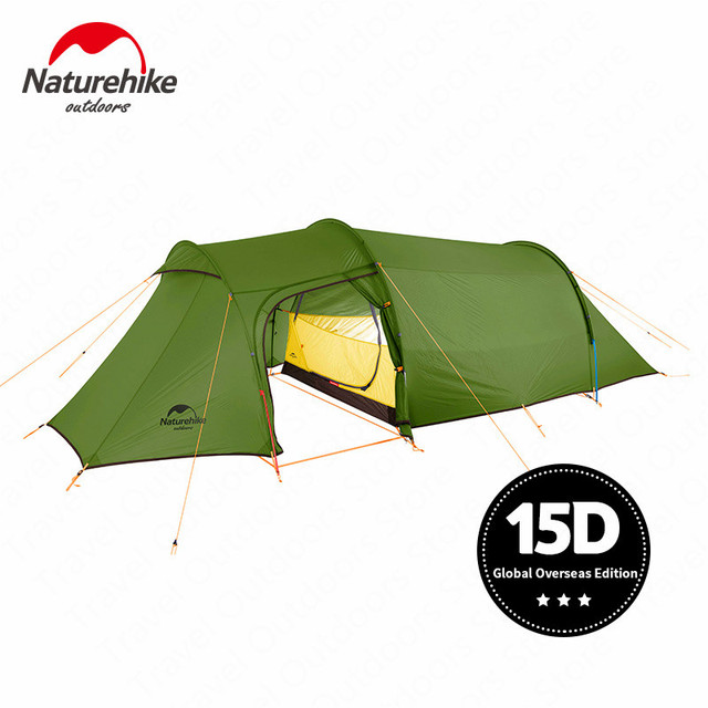 Nturehike NEW Opalus Tunnel Camping Tent 3 4 Person Ultralight Family Tent 4 Season 15D/20D/210T Fabric Tent Camping Hiking