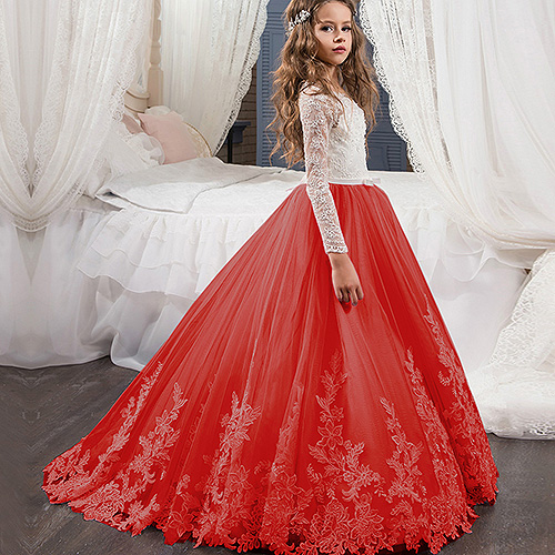 Red Pink Flower Girl Dresses With Sash Lace Appliques Custom Made Ball Gown First Communion Dresses For Girls Elegant Hot Sale