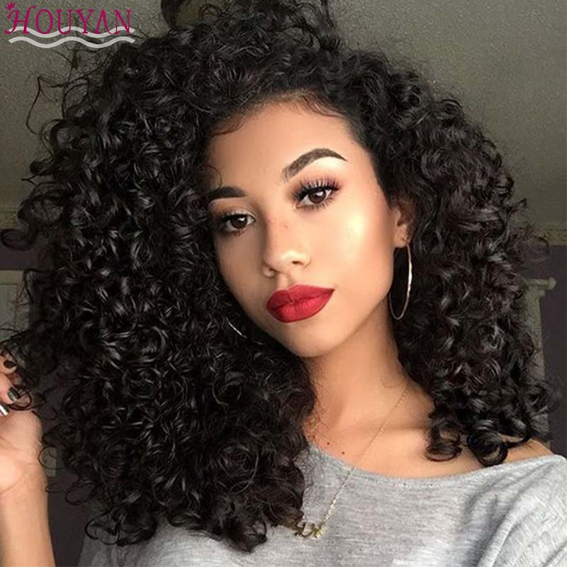 HOUYAN Afro Brown Hair Curly Synthetic Wigs For Women Heat-resistant Female Wigs Women's African Hair