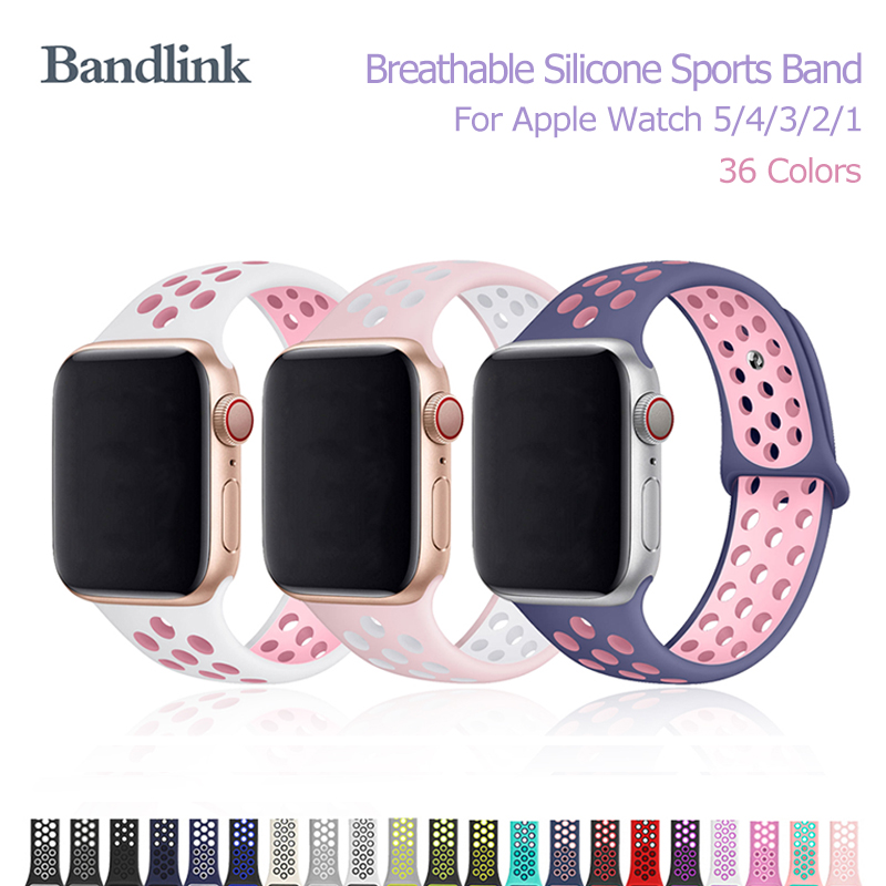 Breathable Silicone Sports Band For IWatch 5/4/3/2/1 38mm 40mm Rubber Sports Watch Band For Apple Watch 5/4 42mm 44mm Watchband