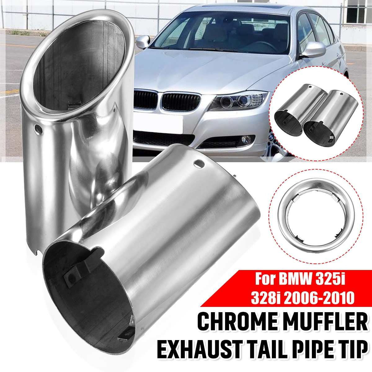 Pair Car Exhaust Muffler Stainless Steel Tail Pipe Tip Chrome For BMW E90 E92 325i 328i 3 Series 2006 2007 2008 2009 2010