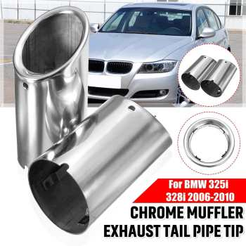 Pair Car Exhaust Muffler Stainless Steel Tail Pipe Tip Chrome For BMW E90 E92 325i 328i 3 Series 2006 2007 2008 2009 2010 image