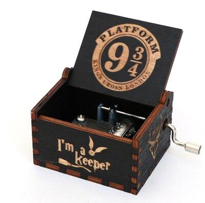 Прямая поставка, черная деревянная музыкальная шкатулка, игра в трон, Caja, музыкальная Zelda, ручная работа, Деревянная Музыкальная Коробка, рождественский подарок - Цвет: GB-HP3-BK