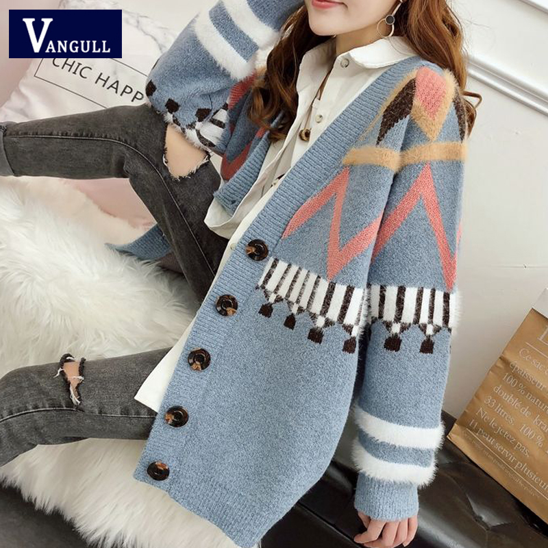 Vangull Women Sweater Cardigans Single Breasted Knitted Cardigans Korean Long Sleeve Loose Winter Clothes Women Sweater Tops