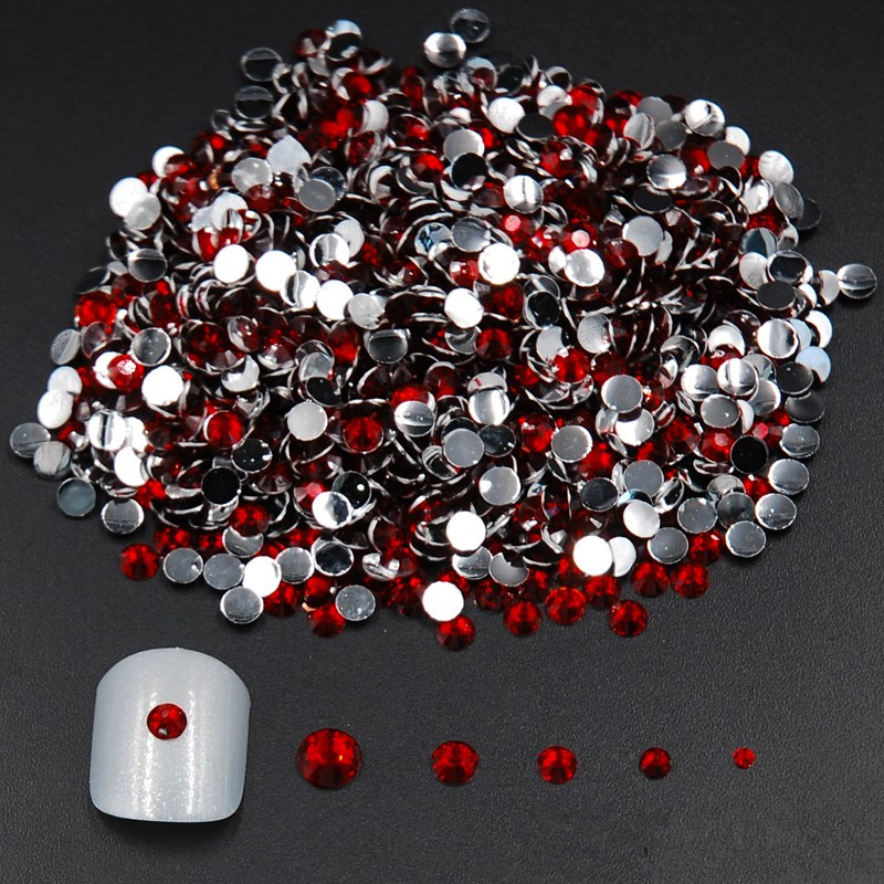 Mixed Sizes 2000pcs Red/Siam Acrylic FlatBack Rhinestones Nail Art Glitter Rhinestone For Nail Tools DIY Decoration