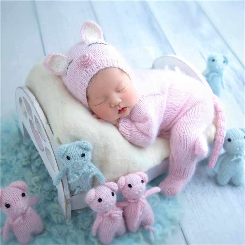 Angora Baru Lahir dengan Kaki Baju Monyet Set Rajutan Lembut Bayi Baru Lahir Hewan Pakaian Bayi Jammy DEVIL Alpaca Bayi Bonnet Sesuai Foto