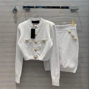 Дизайнерский комплект из двух предметов для подиума, Женский вязаный кардиган + юбка-карандаш с высокой талией, комплект из двух предметов д...
