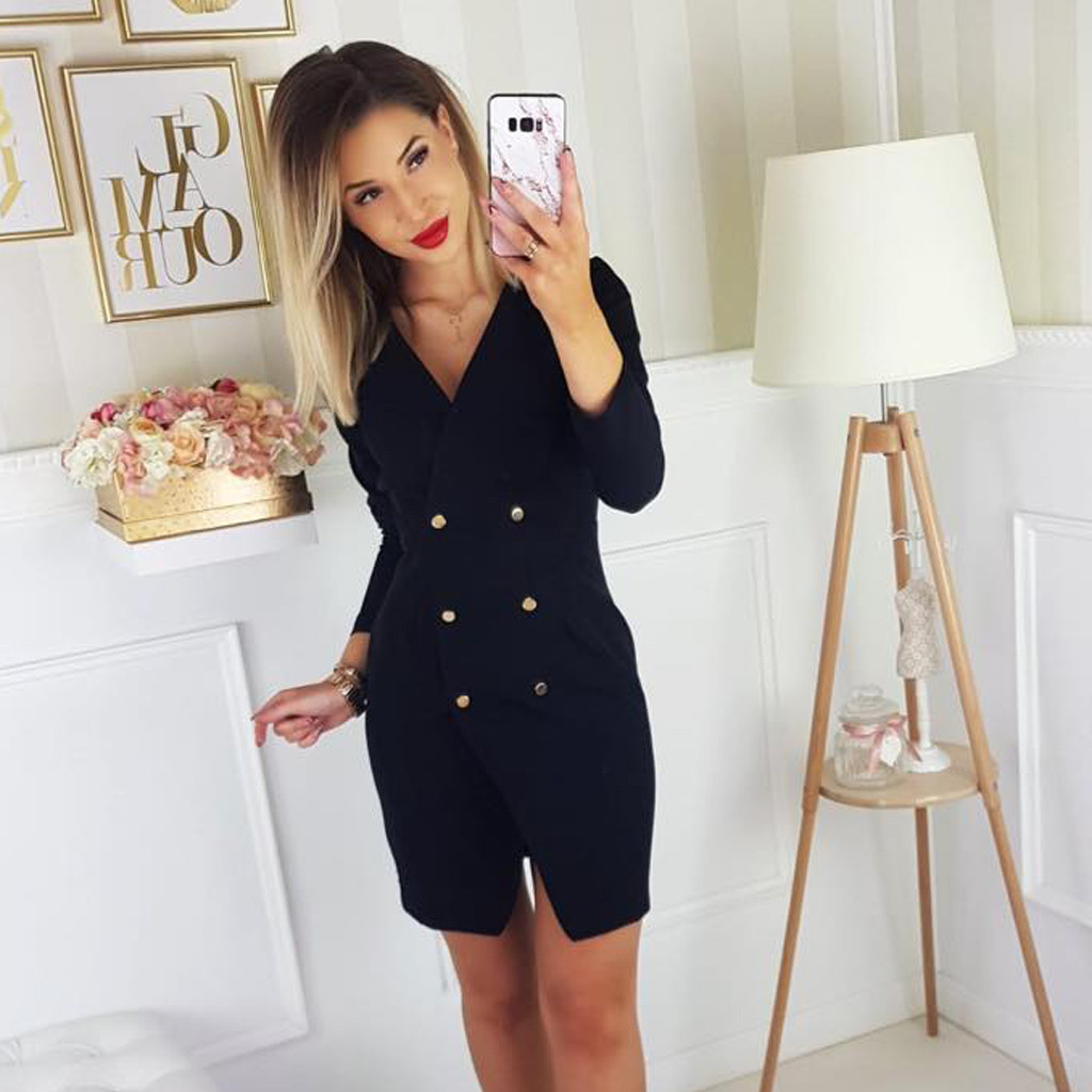 Vintage Womens Suit Button Solid Blazer Dress Women Elegant Office Lady Blazer Mujer Long Sleeve Female Autumn Mini Party Dress