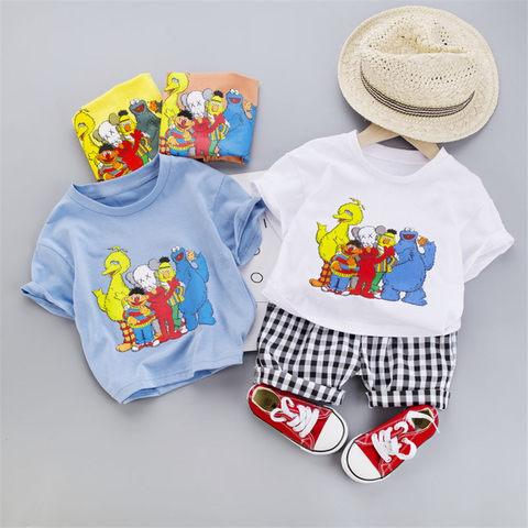 bebe da menina do menino roupas de verao infantil padrao dos desenhos animados t camisa