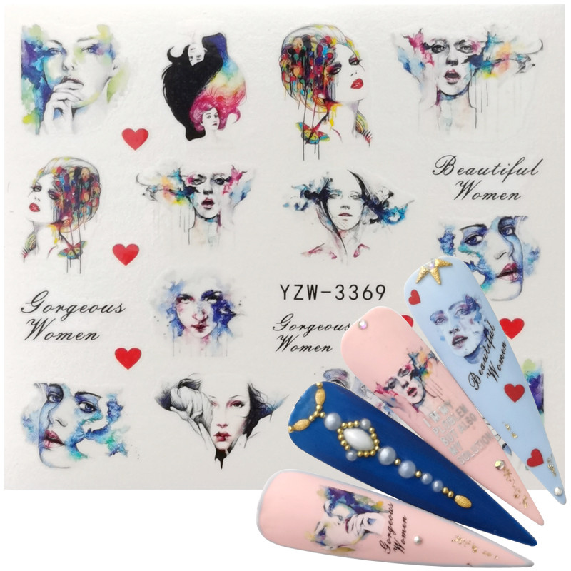 1 Sheet Nail Art Stickers Comic Girl Stickers Decoration For Nails Styling Tools Water Transfer Stickers Decals