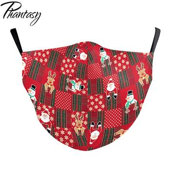 Phantasy Merry Christmas Party Face Mask Cover Fashion 3D Printed Adult Kids Washable Breathable Face Fabric Mouth Mask Mascara 1