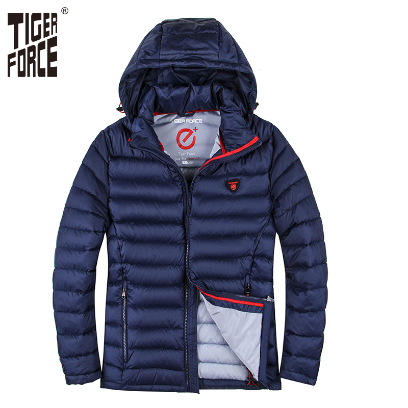 TIGER FORCE Winter Jacket Men Polyester Coat Bio-based Cotton Padded Coat Fashion Causal Jacket Male Hooded Puffer Jacket