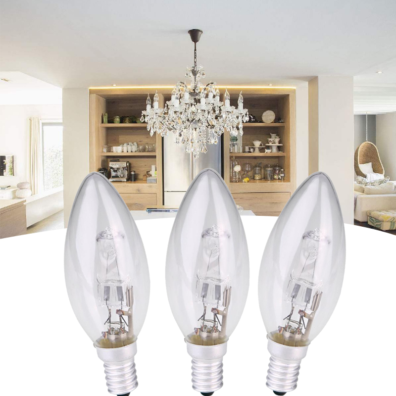 E14 AC 220v-240v Halogen Lamp Bulb Candle Shape  28W Lighting Fixture Household Supplies