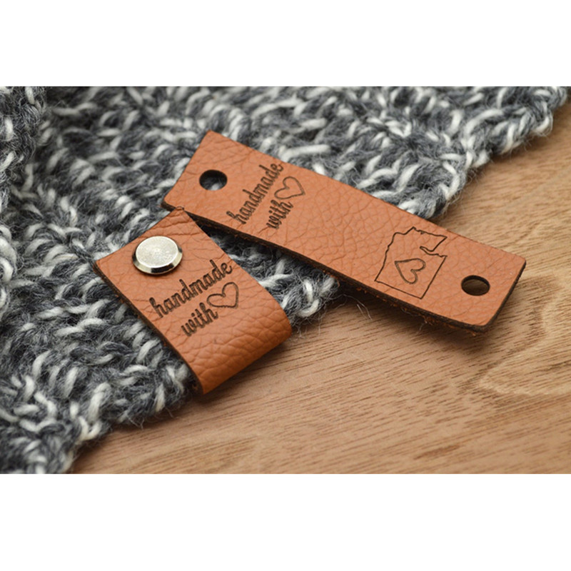 30pcs Sewing leather product label for Handcraft items Custom Branding crochet Handmade tags Center fold knitted garment labels