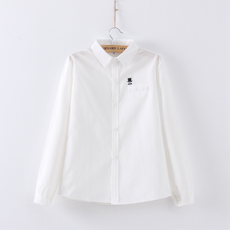Fashion Women's Blouse White Shirt Turn-down Collar Tops Long Sleeve Office Ladies Blouses Simple Embroidery Button Down Shirts