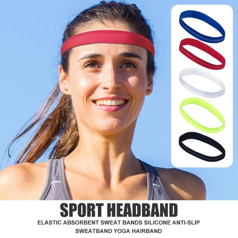 New Fashion Sport Headband Elastic Anti-slip Absorbent Sweat Bands Silicone Yoga Cycling Sports Sweatband Running Cycling