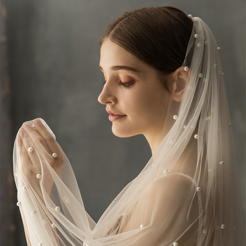Wedding Veil Ivory White Chapel Veil  Classic Bride Long Fantasy Tulle Handmade Decoration Pearl Hair Comb Sweet Wedding Accesso