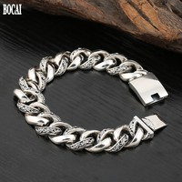 100% real 925 solid silver mighty men's bracelet Tang grass exquisite pattern latch retro Thai silver man's chain