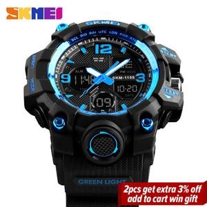 Image 2 - SKMEI montre de Sport pour hommes, Top marque, militaire numérique, étanche 5 bars, double affichage, étanche