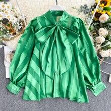 Women's Shirt Sprin Autumn New Satin Shirt Bow Collar Puff S