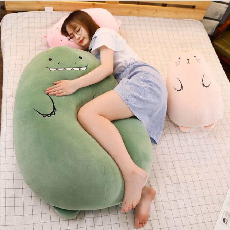 50 cm Dinosaur pillow plush toys cute pig doll girls bed holding a sleeping doll long pillow cushion doll