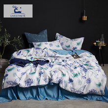 Liv-Esthete Luxury Mulberry Silk Blue Flower Bedding Set Silky Duvet Cover Healthy Skin Pillowcase Double Flat Sheet Bed Linen