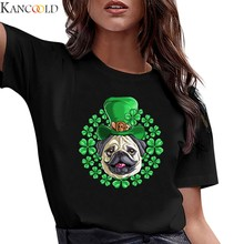 KANCOOLD Women's T-Shirt Short Sleeve Dog Printed Clover Print Saint Patrick's Day T-Shirt Girls' Tops Plus Size Top Streetwear(China)
