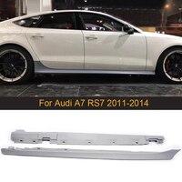 PU Grey Primer Car Side Skirts Apron for Audi A7 RS7 2011 2014 Body Kits Side Bumper Skirts Lip